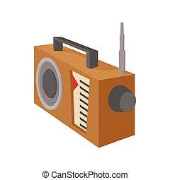 Radio receiver icon, cartoon style on white