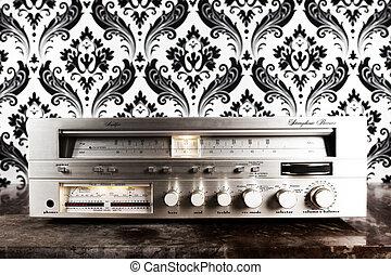 radio receiver agaisnt retro wallpaper