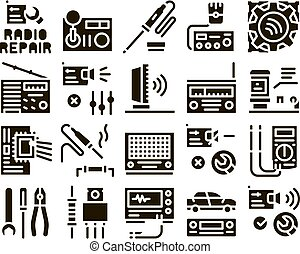 Radio Repair Service Glyph Set Vector. Radio Repair Electronic And Mechanical Equipment Soldering Iron And Ammeter Glyph Pictograms Black Illustrations