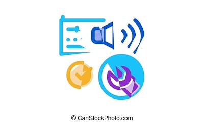 Radio Repair Service Icon Animation Radio Repair Electronic And Mechanical Equipment Soldering Iron And Ammeter
