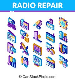Radio Repair Service Icons Set Vector. Isometric Radio Repair Electronic And Mechanical Equipment Soldering Iron And Ammeter Illustrations