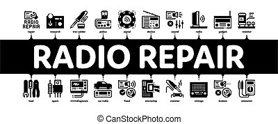 Radio Repair Service Minimal Infographic Web Banner Vector. Radio Repair Electronic And Mechanical Equipment Soldering Iron And Ammeter Illustration