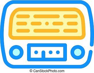 radio retro device color icon vector illustration