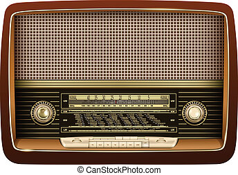 Retro radio, realistic vector illustration.
