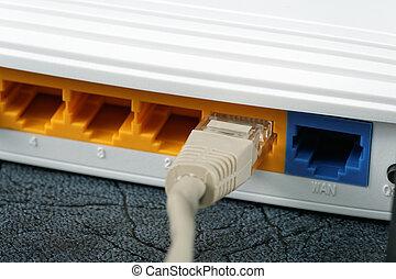 radio, router, networking, kabel, tisch