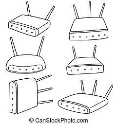 radio, router, vektor, satz