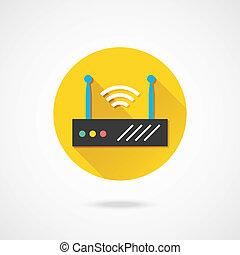 radio, router, vektor, vernetzung