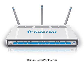 radio, router, weißes, adsl