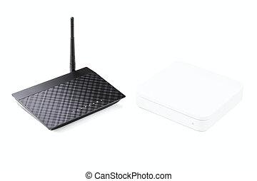 radio, router, weißes, schwarz