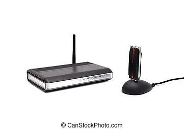 radio, router, zwei