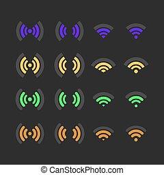 radio, sätta, ikonen, illustration., vektor
