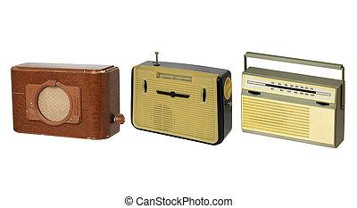 radio-sets, antigas, três, formado