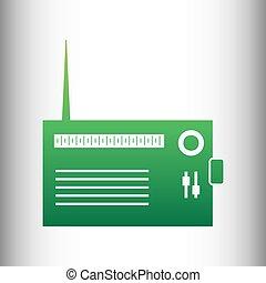 Radio sign. Green gradient icon