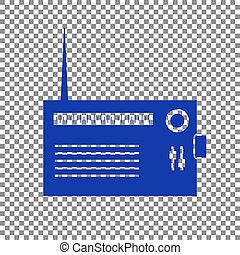 Radio sign illustration. Blue icon on transparent background.