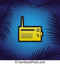 Radio sign illustration. Vector. Golden icon with black contour