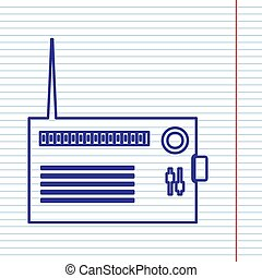 Radio sign illustration. Vector. Navy line icon on notebook paper as background with red line for field.