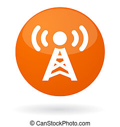 Radio signal button - Isolated illustration of button with...