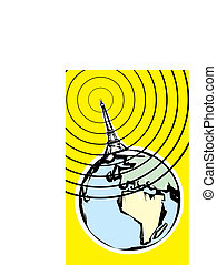 Radio Signal - Radio signal going out into space in retro...