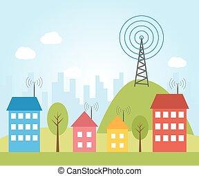 radio, signal, illustration