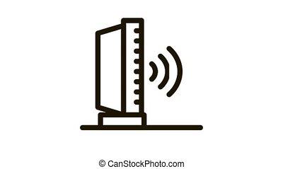 radio sound Icon Animation. black radio sound animated icon on white background