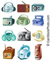 radio, spotprent, pictogram