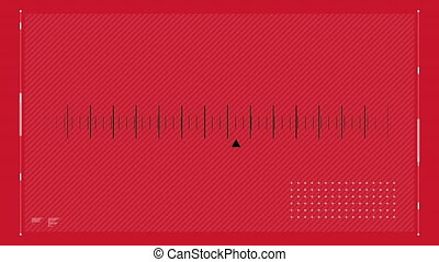 Digital animation of a radio station cursor scrolling on a red background