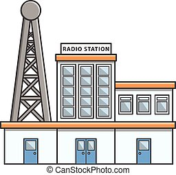 Radio station Doodle Illustration cartoon