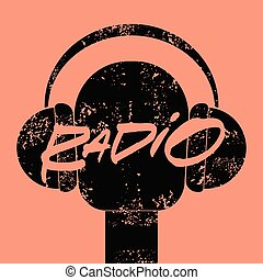 Radio station handwritten lettering vintage grunge poster with microphone and headphones. Retro vector illustration.