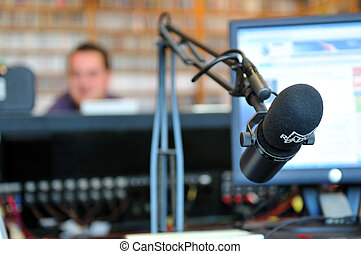 radio station indoor and microphone