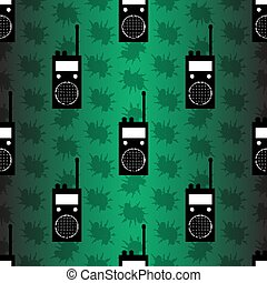 radio station on green background seamless vector pattern
