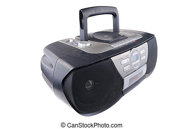 Radio tape recorder of black colour on a white background
