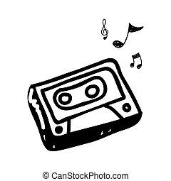 radio, tecnologia, con, note, musica, icona