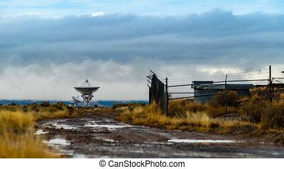 Radio Telescope Array - Time-lapse of multiple radio...