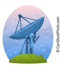 Radio Telescope - Radio telescope standing on the ground...