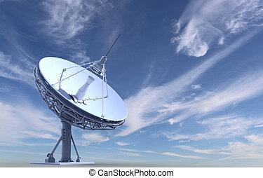 radio telescope on sky background