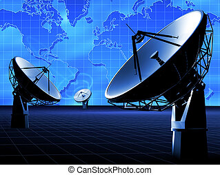 RADIO TELESCOPE - The radio-aerial on a background of the...