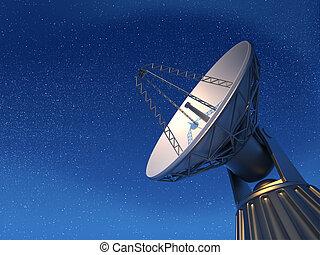 Radio telescope - 3d render illustration of parabolic dish (...