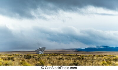Radio Telescope Grassy Field - Distant time-lapse looking...