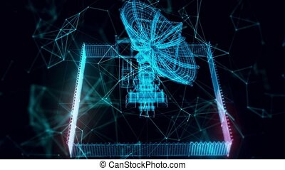 Radio telescope hologram Close up. High quality 4k footage