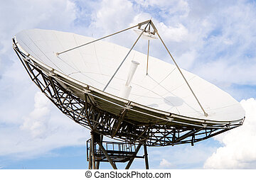 Radio telescope under blue cloudy sky