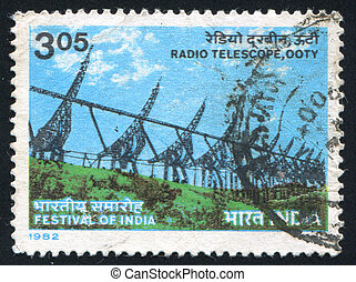 Radio Telescope - INDIA - CIRCA 1982: stamp printed by...