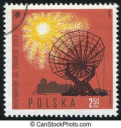 Radio telescope - POLAND - CIRCA 1965: stamp printed by...
