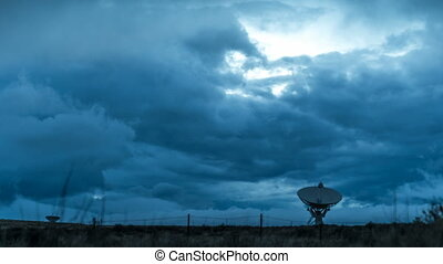 Radio Telescope Storm Clouds