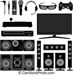 radio, television, elektronisk, hem
