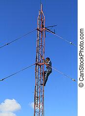 radio toren, arbeider, beklimming