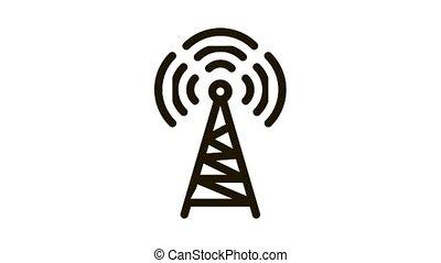 Radio Tower Antenna Icon Animation. black Radio Tower Antenna animated icon on white background