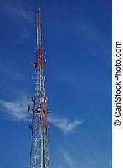 Radio tower blue sky
