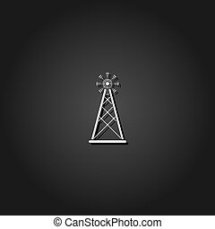 Radio tower broadcast antenna icon flat