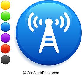 radio tower icon on round internet button original vector...