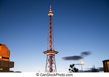 radio tower in berlin with blue evening sky